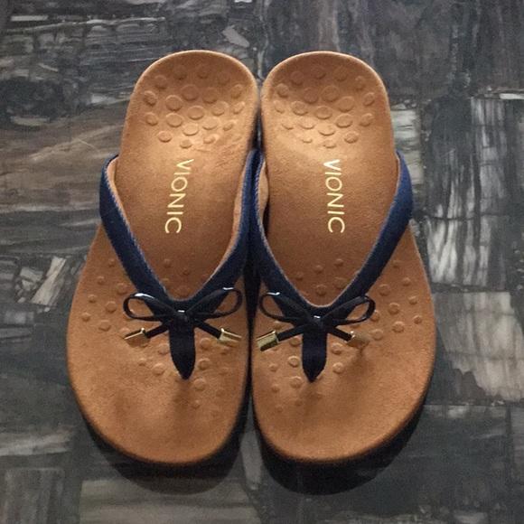 Vionic Shoes - Vionic Blue Thong Sandals